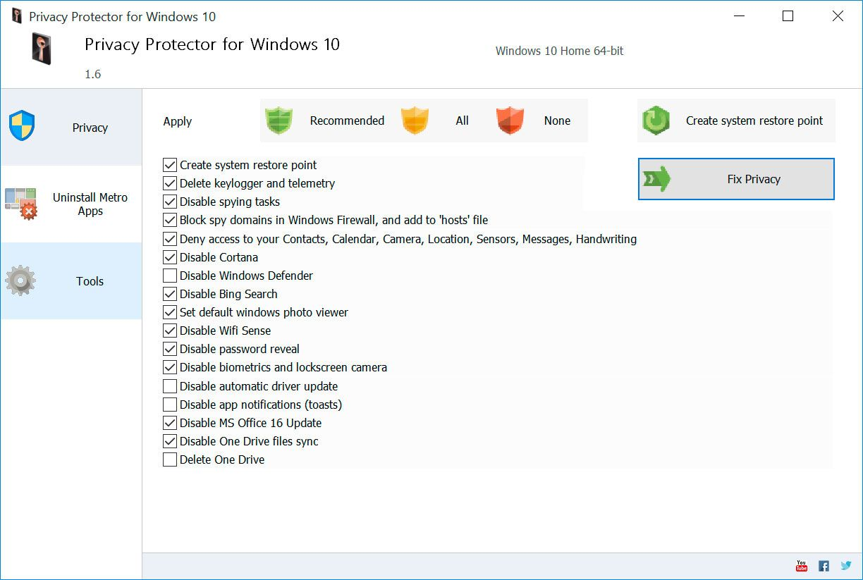 Privacy Protector for Windows 10 Screenshot.